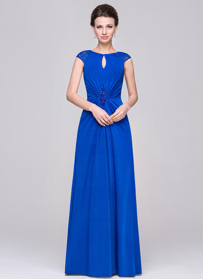 A-Line/Princess Scoop Neck Jersey Sleeveless Floor-Length Ruffle Lace Beading Mother of the Bride Dresses (008210602)