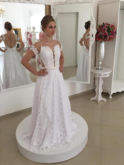 Chic Sweep Train A-Line/Princess Wedding Dresses Scoop Lace Short Sleeves (002147978)