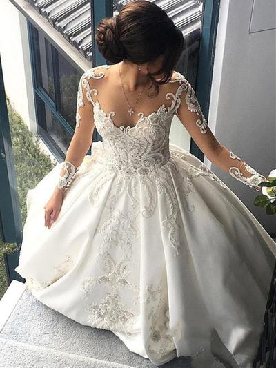 Fashion Chapel Train Ball-Gown Wedding Dresses Scoop Satin Long Sleeves (002147841)