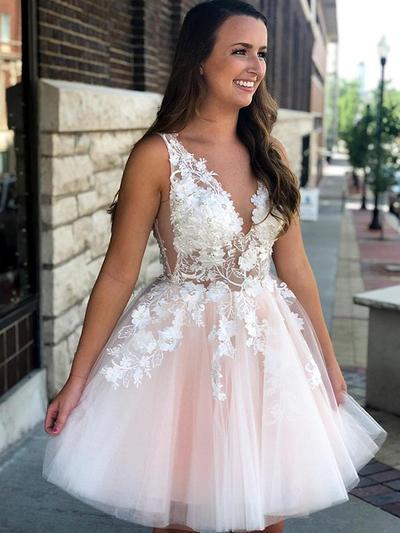 A-Line/Princess V-neck Sleeveless Short/Mini Appliques Lace Homecoming Dresses (022216324)