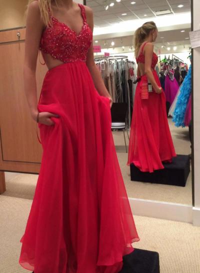 Chiffon Sleeveless A-Line/Princess Prom Dresses V-neck Lace Sweep Train (018148309)