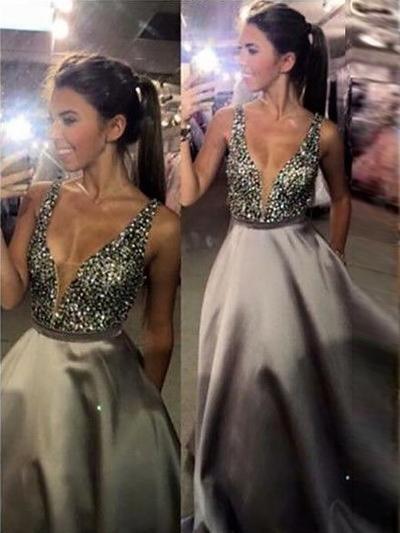 Satin Sleeveless A-Line/Princess Prom Dresses V-neck Sequins Sweep Train (018148425)