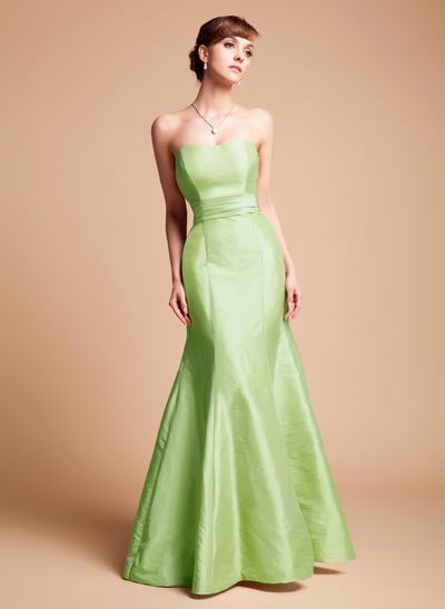 Taffeta Sleeveless Trumpet/Mermaid Bridesmaid Dresses Sweetheart Cascading Ruffles Floor-Length (007004211)