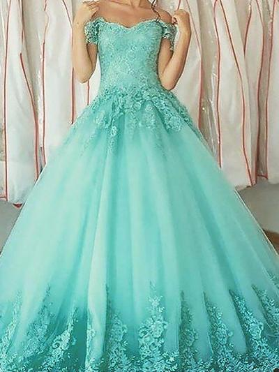 Tulle Sleeveless Ball-Gown Prom Dresses Off-the-Shoulder Appliques Lace Floor-Length (018210218)