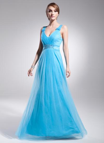 Tulle Sleeveless A-Line/Princess Prom Dresses V-neck Ruffle Beading Floor-Length (018021131)