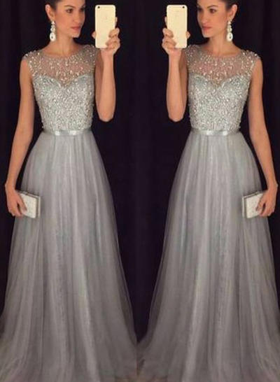 Sleeveless A-Line/Princess Prom Dresses Scoop Neck Sash Beading Sweep Train (018212201)