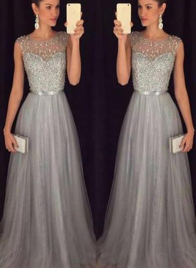 Sleeveless A-Line/Princess Prom Dresses Scoop Neck Sash Beading Sweep Train (018212201)