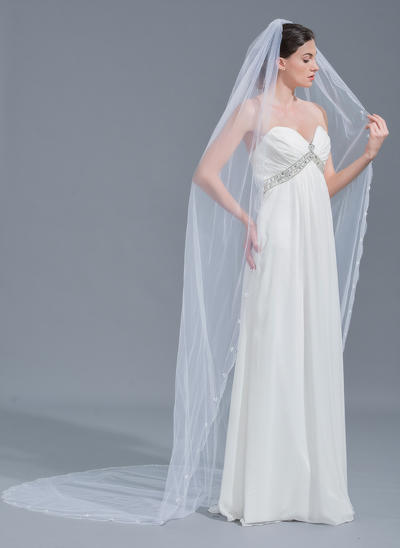 Cathedral Bridal Veils Tulle One-tier Oval With Lace Applique Edge Wedding Veils (006152135)