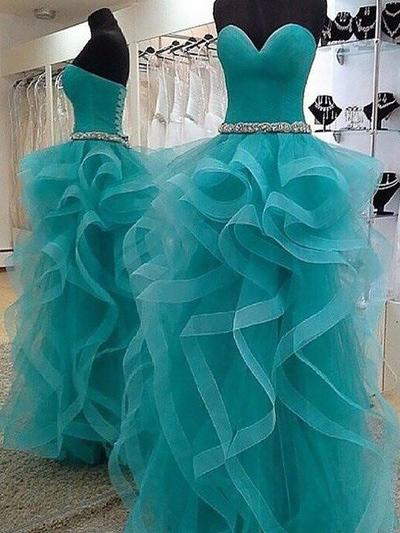 Organza Sleeveless Ball-Gown Prom Dresses Sweetheart Beading Floor-Length (018210294)