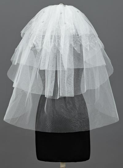 Ellenbogen Braut Schleier Tüll Fünfschichtig Klassische Art mit Schnittkante Brautschleier (006151089)