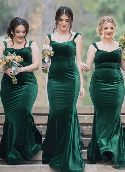 Velvet Sleeveless Sheath/Column Bridesmaid Dresses Square Neckline Sweep Train (007217806)