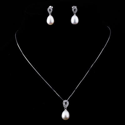 Jewelry Sets Pearl/Sterling Silver Lobster Clasp Pierced Ladies' Wedding & Party Jewelry (011164045)