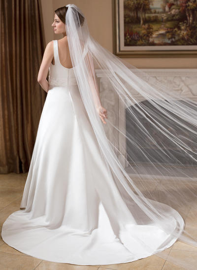 Cathedral Bridal Veils Tulle One-tier Drop Veil With Cut Edge Wedding Veils (006151010)