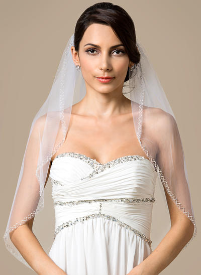 Elbow Bridal Veils Tulle One-tier Classic With Pearl Trim Edge Wedding Veils (006151793)