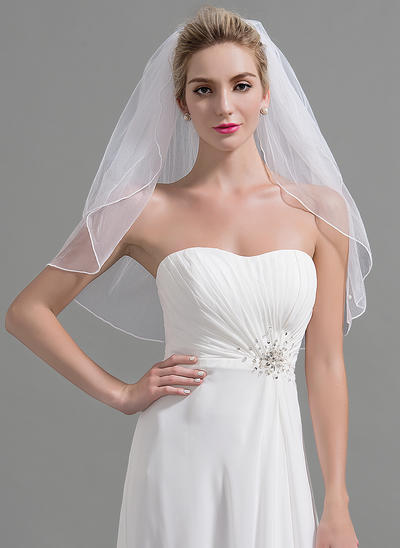 Elbow Bridal Veils Tulle Two-tier Oval With Cut Edge Wedding Veils (006151958)