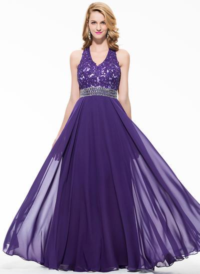 Chiffon Sleeveless A-Line/Princess Prom Dresses V-neck Beading Appliques Lace Sequins Floor-Length (018075898)