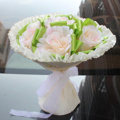 """Bridal Bouquets Round Wedding/Party/Casual Satin 11.42""""(Approx.29cm) Wedding Flowers (123190174)"""