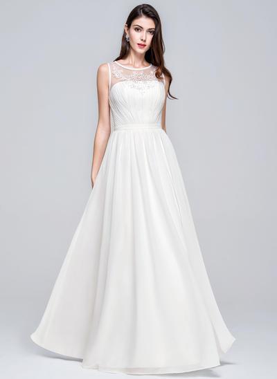 Stunning Floor-Length A-Line/Princess Wedding Dresses Scoop Chiffon Sleeveless (002211133)