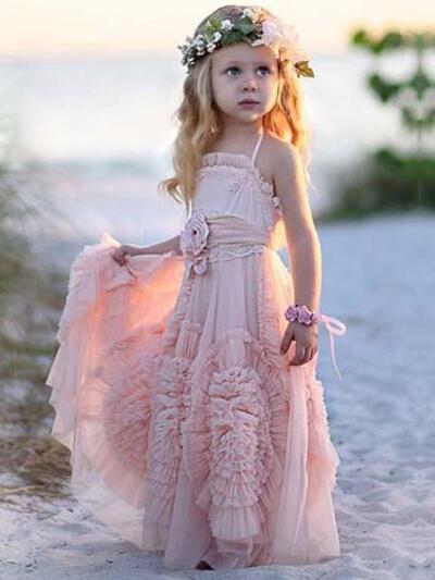 Luxurious Floor-length A-Line/Princess Flower Girl Dresses Square Neckline Chiffon Sleeveless (010145246)