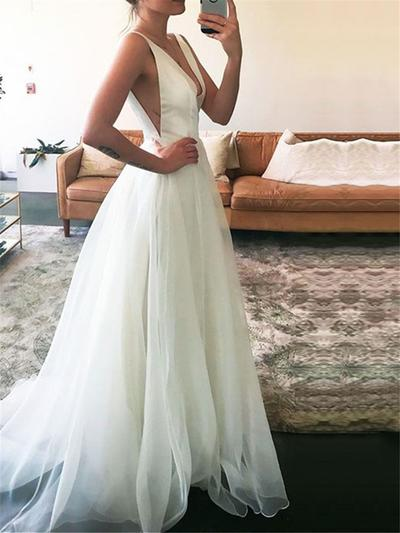 Simple Floor-Length Sweep Train A-Line/Princess Wedding Dresses Deep V Neck Tulle Sleeveless (002148245)