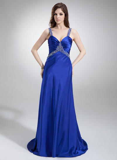Charmeuse Sleeveless A-Line/Princess Prom Dresses V-neck Ruffle Beading Sweep Train (018002831)