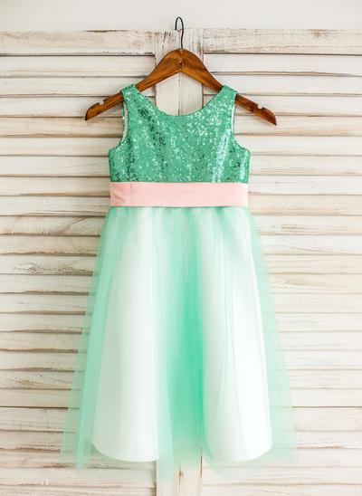 Elegant Knee-length A-Line/Princess Flower Girl Dresses Scoop Neck Tulle/Sequined Sleeveless (010210149)