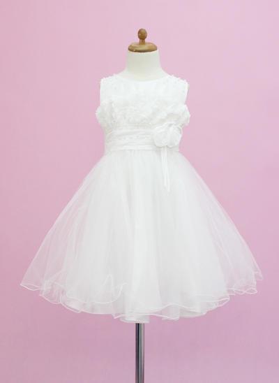 Modern Tea-length A-Line/Princess Flower Girl Dresses Scoop Neck Tulle Sleeveless (010005337)