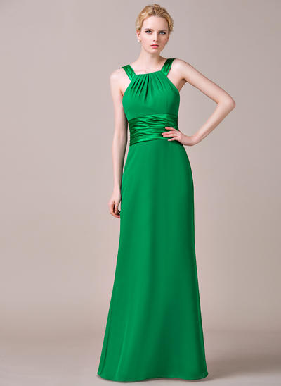 Chiffon Sleeveless Sheath/Column Bridesmaid Dresses Scoop Neck Ruffle Floor-Length (007198750)