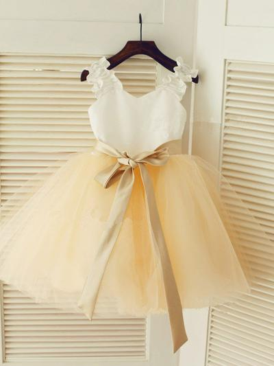 Flattering Knee-length A-Line/Princess Flower Girl Dresses Straps Satin/Tulle Sleeveless (010211835)