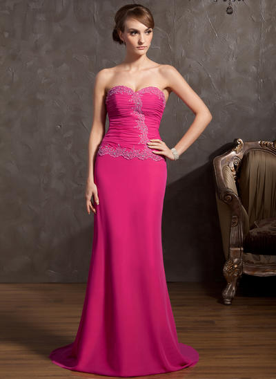 A-Line/Princess Sweetheart Chiffon Sleeveless Sweep Train Ruffle Beading Appliques Lace Evening Dresses (017014848)
