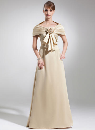 Empire Scoop Neck Satin Sleeveless Floor-Length Lace Mother of the Bride Dresses (008005934)