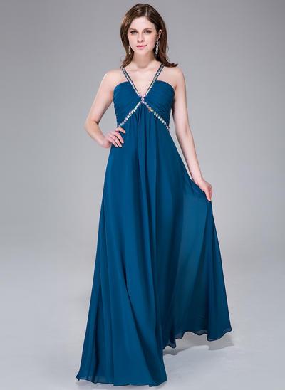 Chiffon Sleeveless Empire Prom Dresses V-neck Ruffle Beading Floor-Length (018041049)