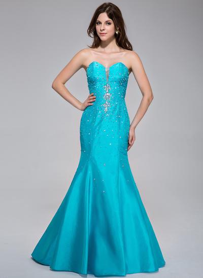 Taffeta Sleeveless Trumpet/Mermaid Prom Dresses Sweetheart Beading Sweep Train (018025502)