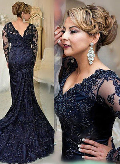 Trumpet/Mermaid V-neck Lace Long Sleeves Court Train Beading Sequins Mother of the Bride Dresses (008146304)