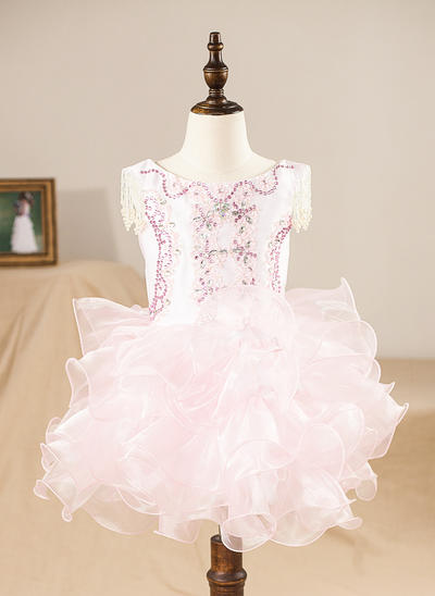 Princess Knee-length A-Line/Princess Flower Girl Dresses Scoop Neck Organza Sleeveless (010212057)
