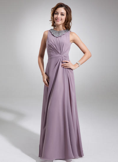 A-Linie/Princess-Linie U-Ausschnitt Chiffon Ärmellos Bodenlang Rüschen Perlstickerei Kleider für die Brautmutter (008006217)