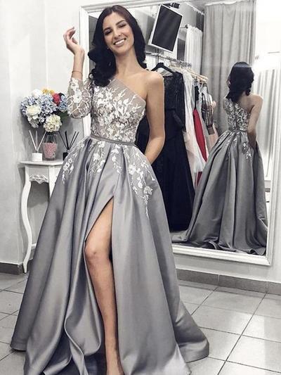 Satin 3/4 Sleeves A-Line/Princess Prom Dresses One-Shoulder Appliques Lace Split Front Sweep Train (018218585)