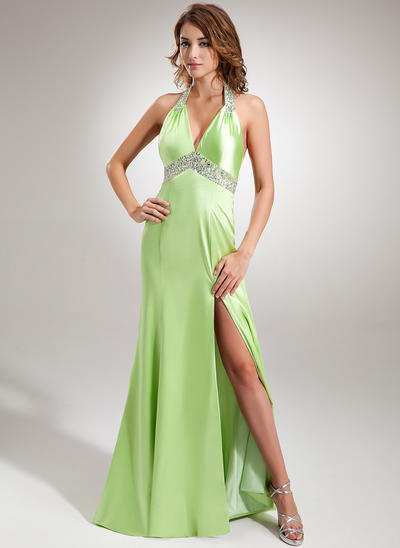 Trumpet/Mermaid Halter Charmeuse Sleeveless Sweep Train Ruffle Beading Sequins Split Front Evening Dresses (017005605)