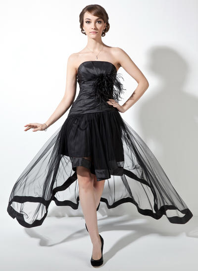 Taffeta Tulle Sleeveless A-Line/Princess Prom Dresses Strapless Ruffle Feather Asymmetrical (018021078)