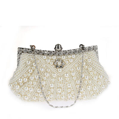 Clutches/Wristlets/Totes/Bridal Purse/Fashion Handbags/Makeup Bags/Luxury Clutches Wedding/Ceremony & Party/Casual & Shopping/Office & Career Satin/Pearl Magnetic Closure Elegant Clutches & Evening Bags (012187874)