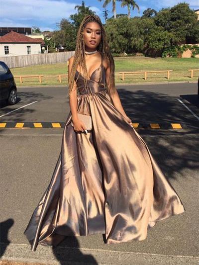 Charmeuse Sleeveless A-Line/Princess Prom Dresses V-neck Ruffle Floor-Length (018218648)