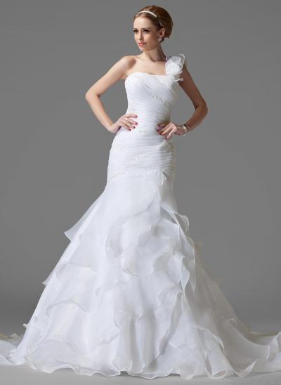 Flattering Chapel Train Trumpet/Mermaid Wedding Dresses One Shoulder Satin Organza Sleeveless (002211157)