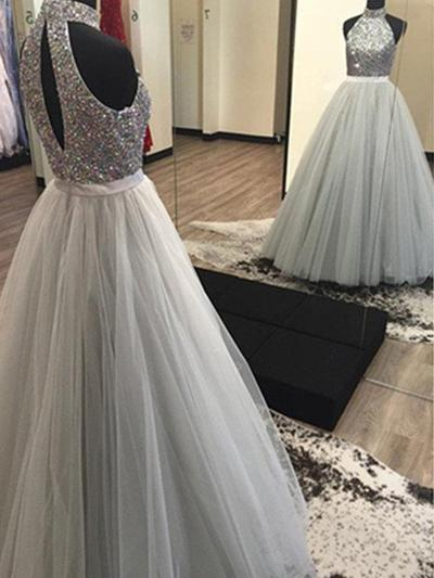 Tulle Sleeveless A-Line/Princess Prom Dresses Halter Beading Floor-Length (018210273)