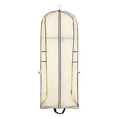 Garment Bags Dress Length Center Zip Nonwoven Fabric Beige Wedding Garment Bag (035192301)