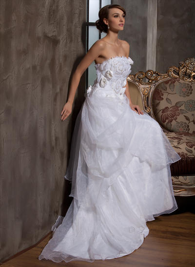 Flattering Court Train A-Line/Princess Wedding Dresses Strapless Satin Organza Sleeveless (002196889)