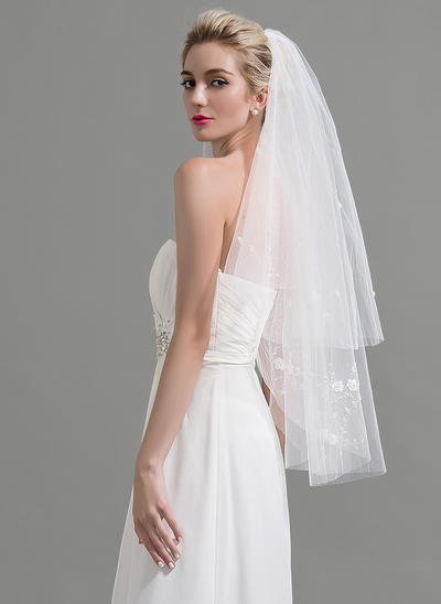 Fingertip Bridal Veils Tulle Two-tier Classic With Cut Edge Wedding Veils (006151935)