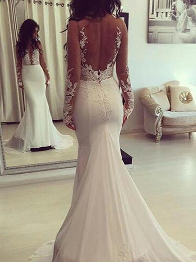 Sexy Court Train Trumpet/Mermaid Wedding Dresses Scoop Chiffon Long Sleeves (002210851)