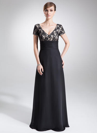 A-Line/Princess V-neck Chiffon Lace Short Sleeves Floor-Length Ruffle Beading Mother of the Bride Dresses (008005673)