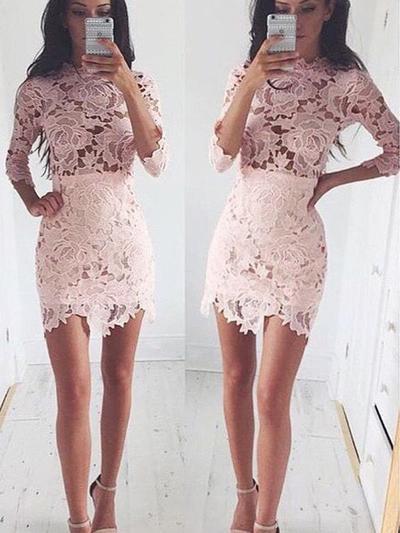 Sheath/Column Scoop Neck Lace 3/4 Sleeves Short/Mini Homecoming Dresses (022212268)