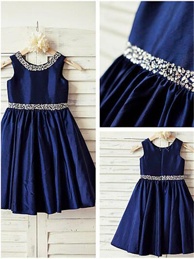 Princess Tea-length A-Line/Princess Flower Girl Dresses Scoop Neck Satin Sleeveless (010211895)